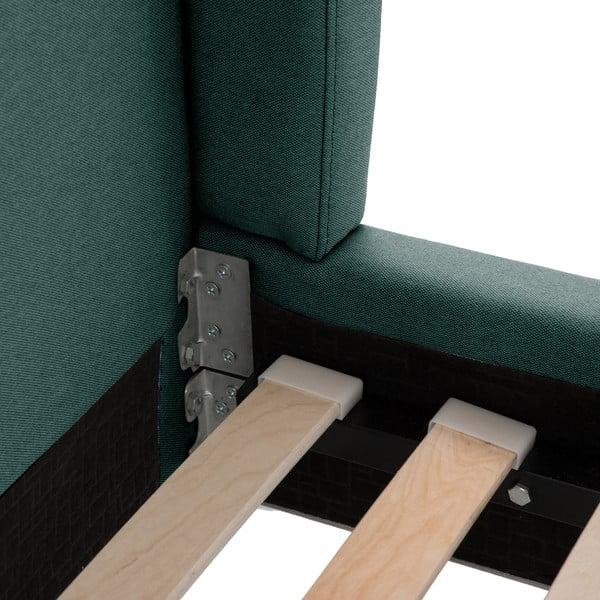 Petrolejově zelená postel s přírodními nohami Vivonita Windsor,140x200cm