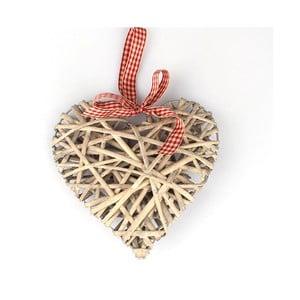 Inimă suspendată din ratan Dakls, 20 cm