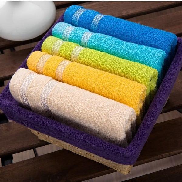 Sada 5 ručníků  Purple Basket, 30x50 cm