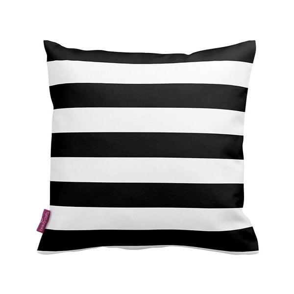 Černobílý polštář  Stripes Blue, 43x43cm