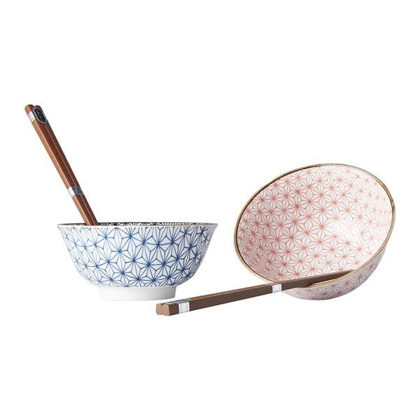 Set 2 misek a jídelních hůlek MIJ Asanoha