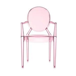Světle růžová transparentní židle Kartell Lou Lou Ghost