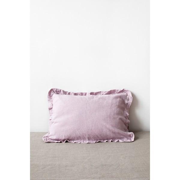 Jasnofioletowa lniana poszewka na poduszkę z falbanką Linen Tales, 50x60 cm