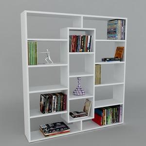 Knihovna Ample White, 22x125x135,7 cm