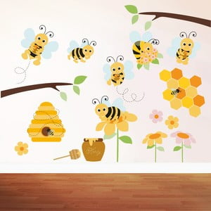 Samolepka na zeď Honey Bee, 90x60 cm