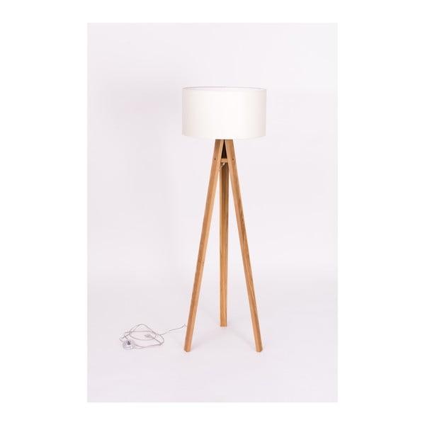 Stojací lampa s bílým stínítkem a černo-bílým kabelem Ragaba Wanda