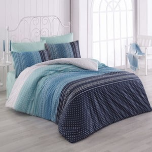 Lenjerie de pat din bumbac cu cearșaf Summer, 200 x 220 cm, albastru