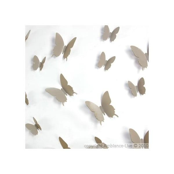 Sada 12 světle hnědých 3D samolepek Ambiance Butterflies