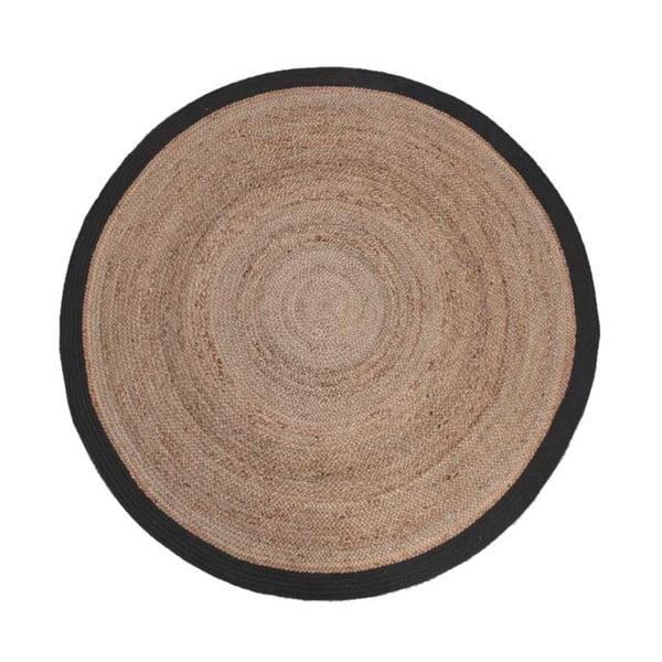 Jutový koberec s čiernym okrajom LABEL51 Rug,⌀ 150 cm