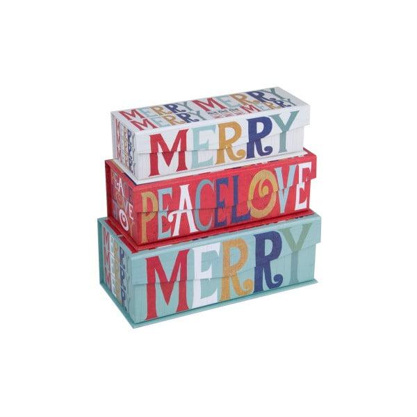 Sada 3 ks boxů Tri-Coastal Merry Peace Love