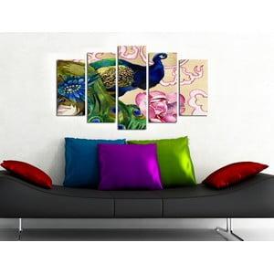 Pětidílný obraz Páv, 110x60 cm