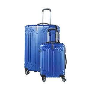 Sada 2 modrých cestovních kufrů na kolečkách Travel World