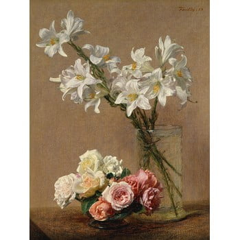 Reproducere tablou Henri Fantin-Latour - Roses and Lilies, 45 x 60 cm imagine