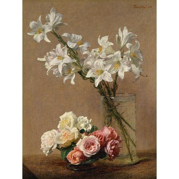 Reprodukce obrazu Henri Fantin-Latour - Roses and Lilies, 45x60cm