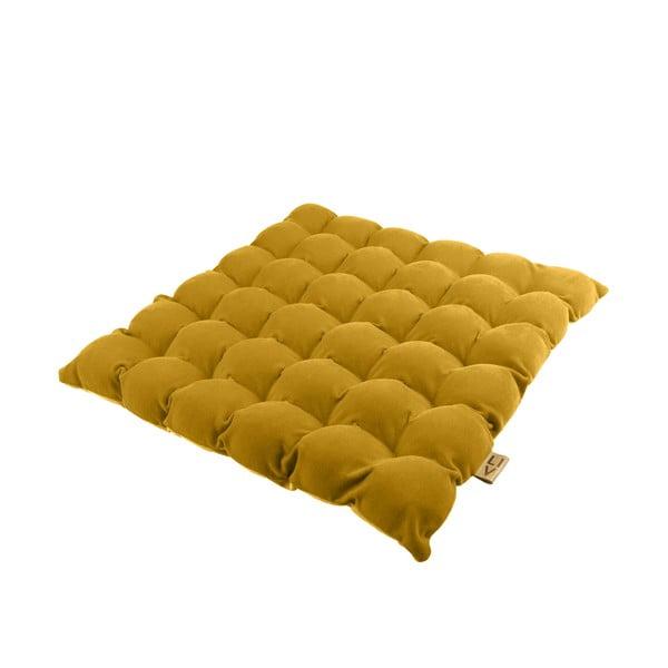 Ciemnożółta poduszka do siedzenia z piłkami do masażu Linda Vrňáková Bubbles, 65x65 cm