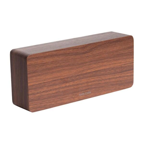 Budík v dřevěném dekoru Karlsson Cube, 21 x 9 cm