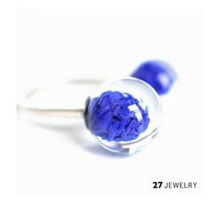 Tmavě modrý dvojitý prsten ze skla Enamor, vel. M