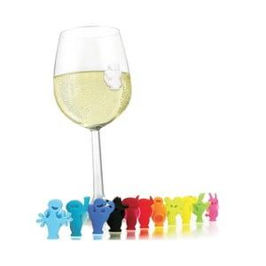 Rozlišovací set přísavek na skleničky Monsters, 12 ks