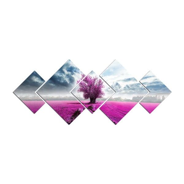 Obraz wieloczęściowy Purple Tree, 120x50 cm
