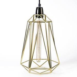 Světlo se zlatým stínítkem a černým kabelem Filament Style Diamond #3