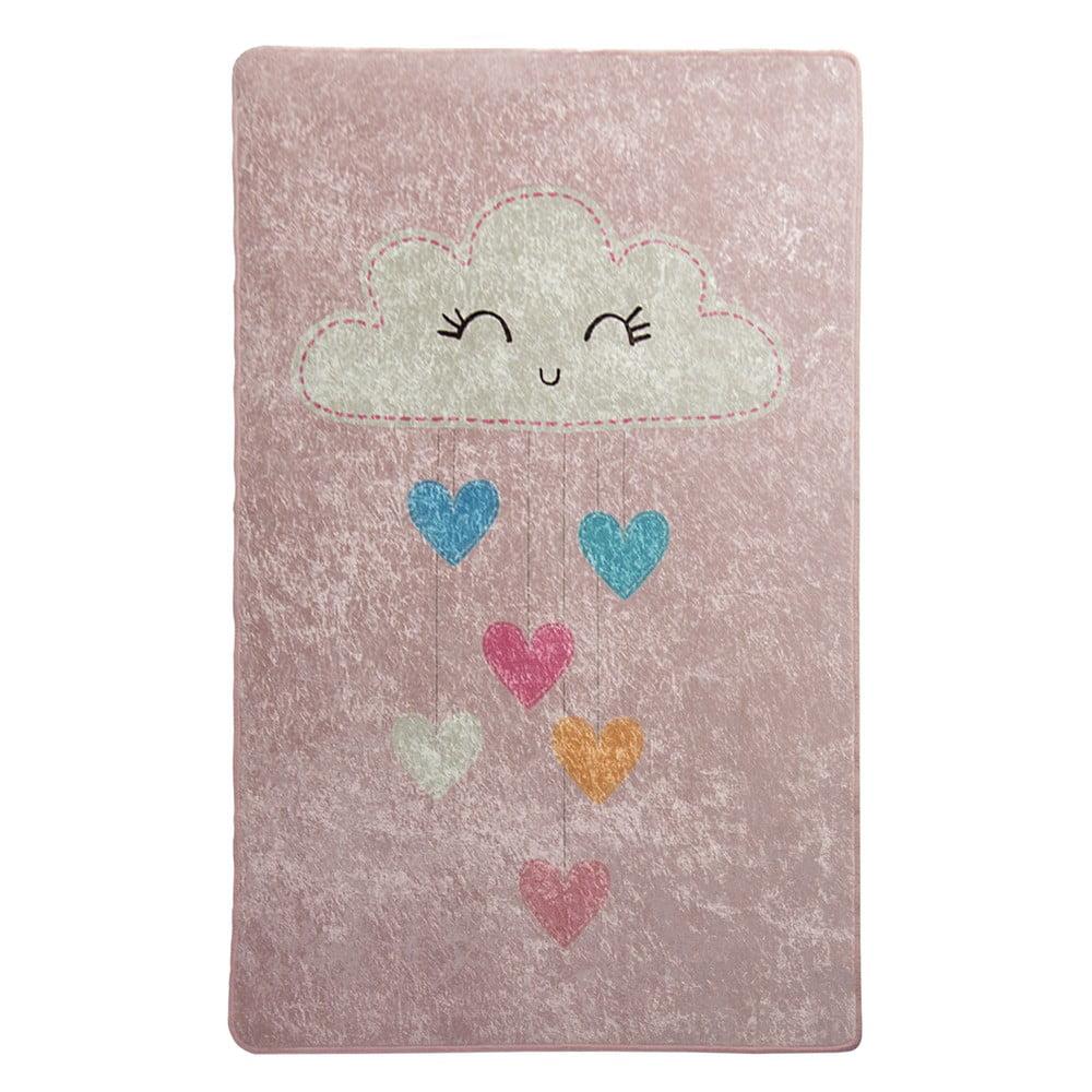 Růžový dětský protiskluzový koberec Chilai Baby Cloud,100x160cm