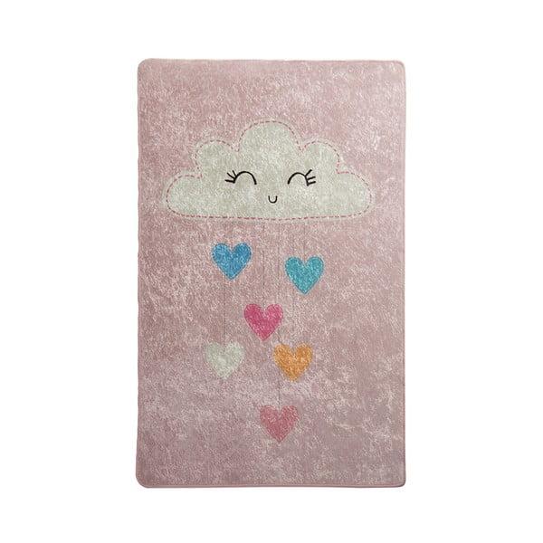 Ružový detský protišmykový koberec Chilam Baby Cloud, 100 x 160 cm