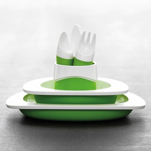 Dětský jídelní set Toddler, zelený