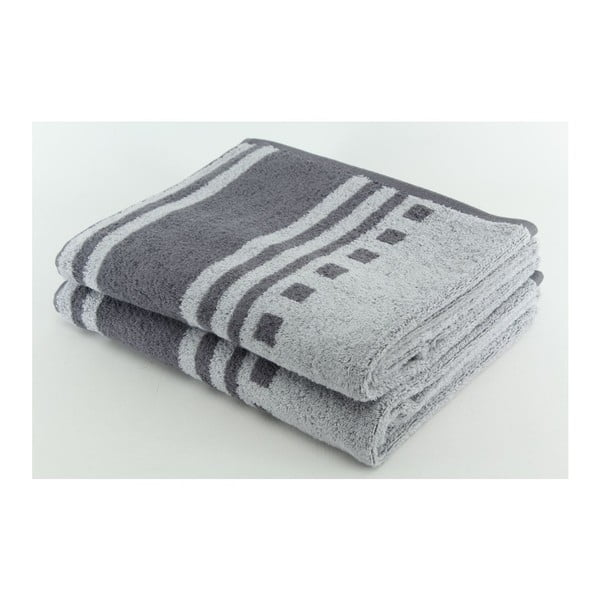 Set 2 osušek Grey, 70x140 cm