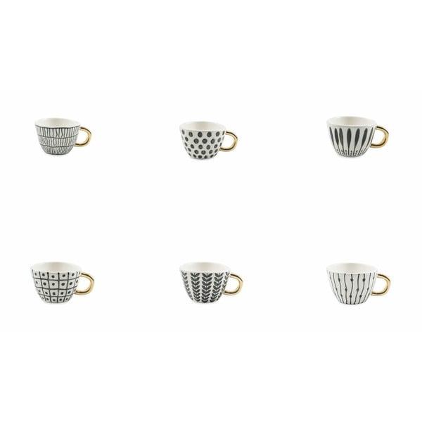 Sada 6 černo-bílých šálků na kávu z kameniny Villad'Este Masai, 90 ml