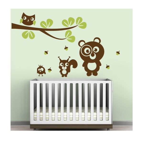 Samolepka na stěnu Medvídek, veverka a sova, zelená, 70x50 cm