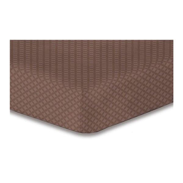 Hnědé elastické prostěradlo DecoKing Hypnosis Arthur, 220x240cm
