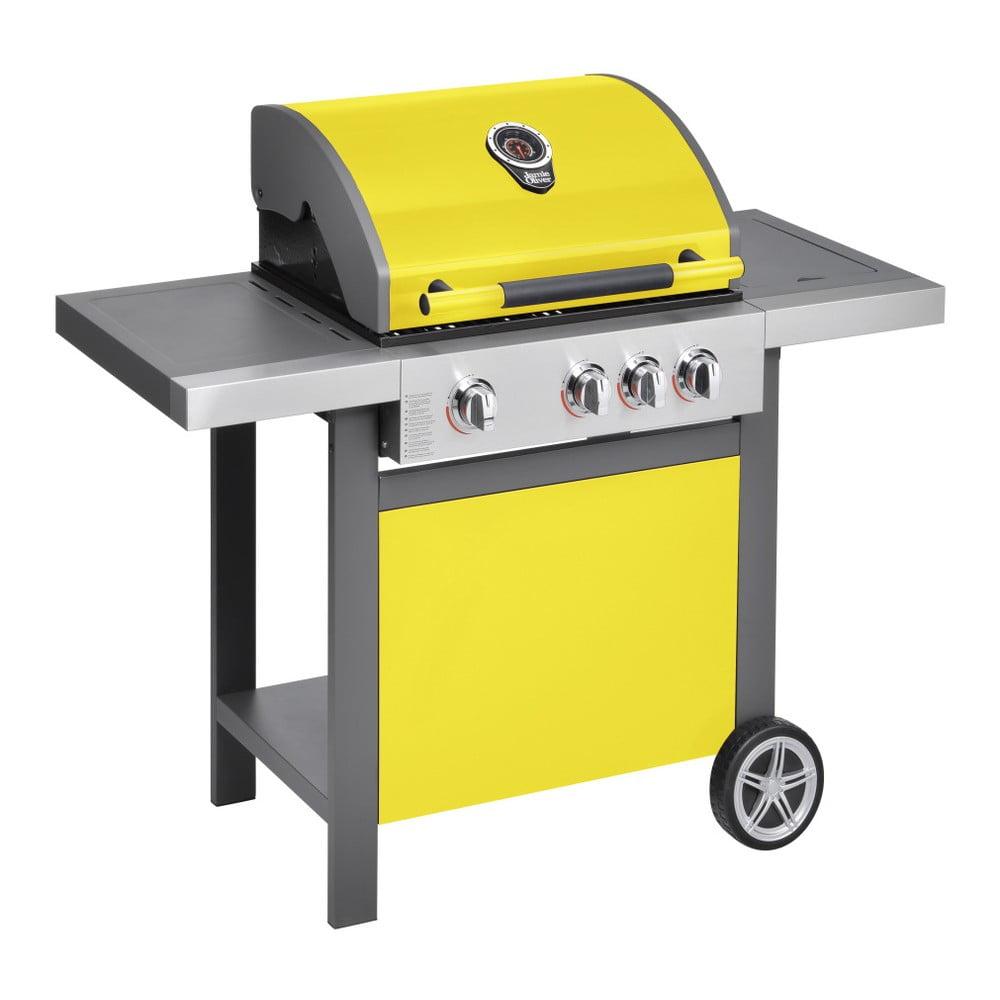 Žlutý plynový gril se 3 samostatně ovladatelnými hořáky, teploměrem a bočním ohřívačem Jamie Oliver BBQ