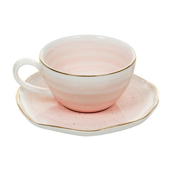 Ceașcă cu farfurie din porțelan Santiago Pons Bol, roz