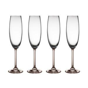 Set 2 pahare de șampanie din cristal Bitz Fluidum, 220 ml, gri