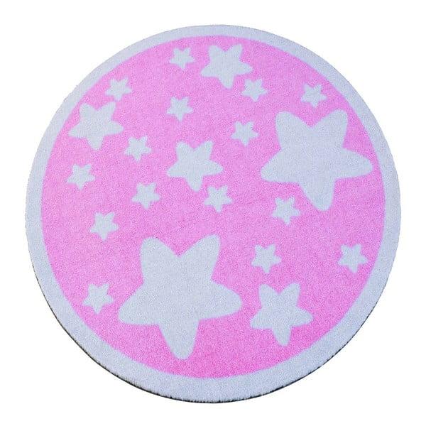 Dětský růžový koberec Zala Living Star, ⌀100cm