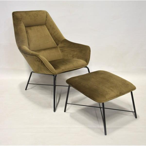 Fotel w złotym kolorze z podnóżkiem RGE Adele