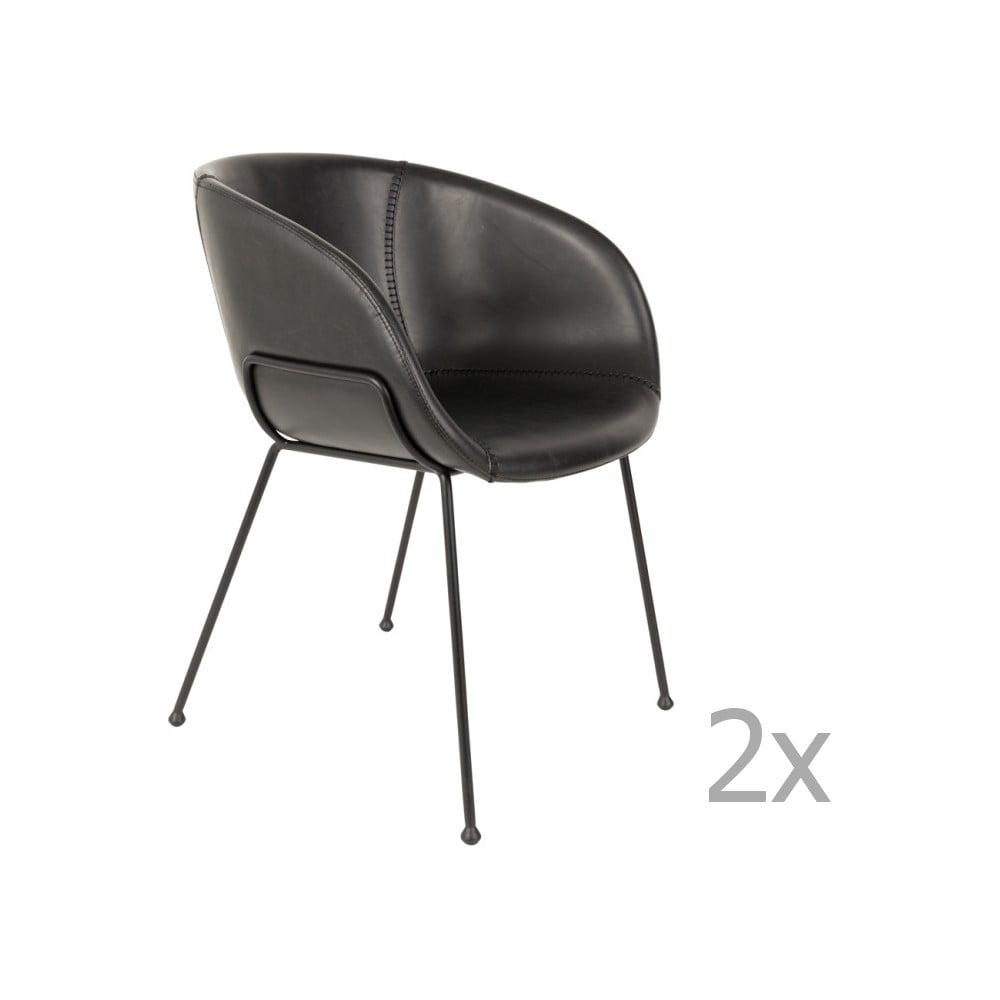 Sada 2 černých židlí Zuiver Feston