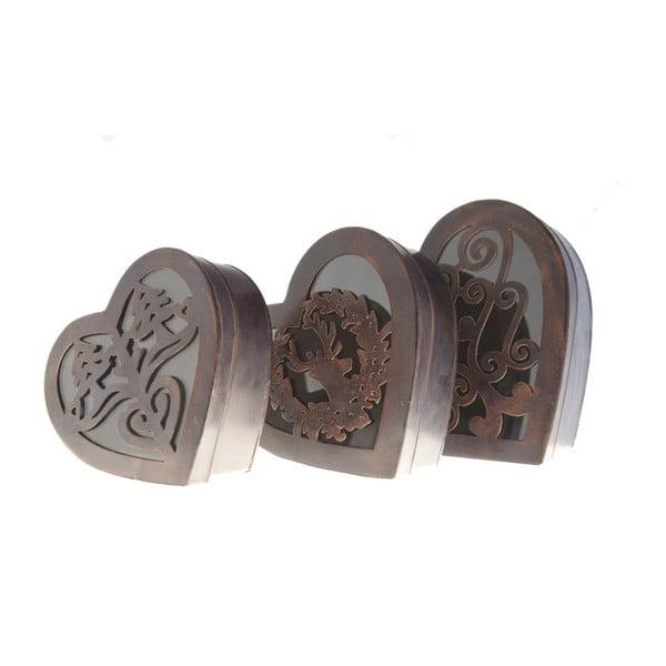Sada 3 kovových boxů Hearts Antic