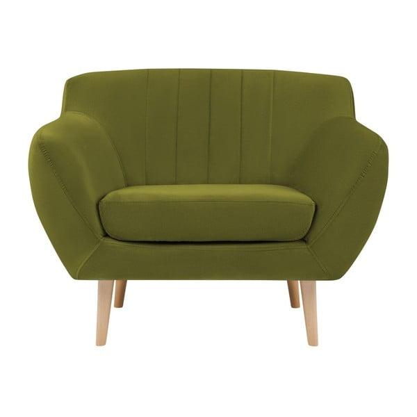 Fotoliu cu picioare de culoare deschisă Mazzini Sofas Sardaigne, verde