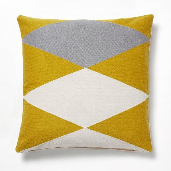 Vang sárga-szürke díszpárna, 45 x 45 cm - La Forma
