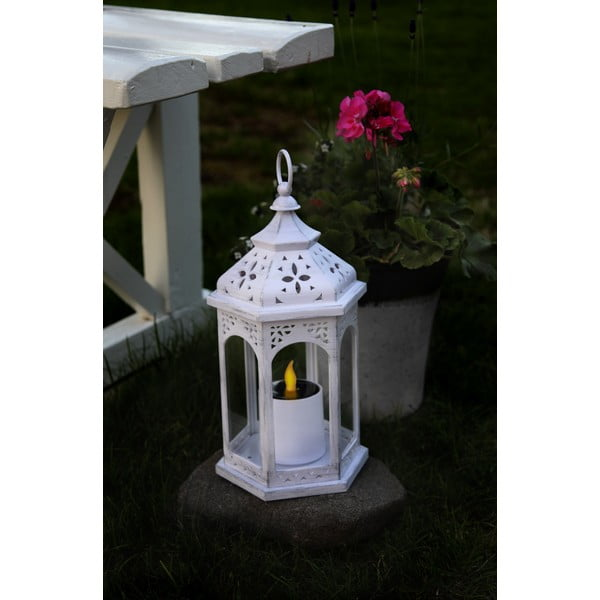 Bílá LED solární lucerna vhodná do exteriéru Best Season Warm