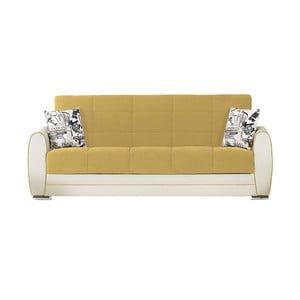 Canapea extensibilă de 3 persoane cu spaţiu de depozitare, Esidra Rest, galben - crem