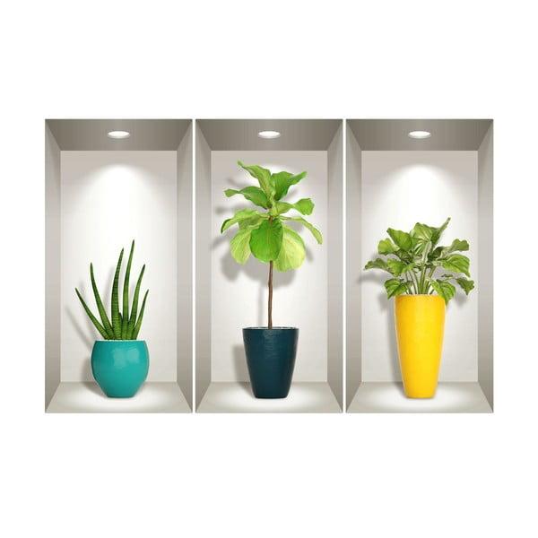 Sada 3 3D samolepek na zeď Ambiance Southern Plants