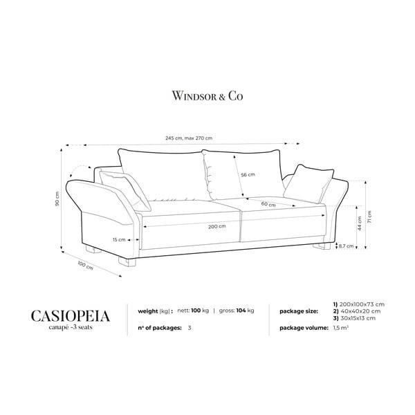 Béžová trojmístná rozkládací pohovka s úložným prostorem Windsor & Co Sofas Casiopeia