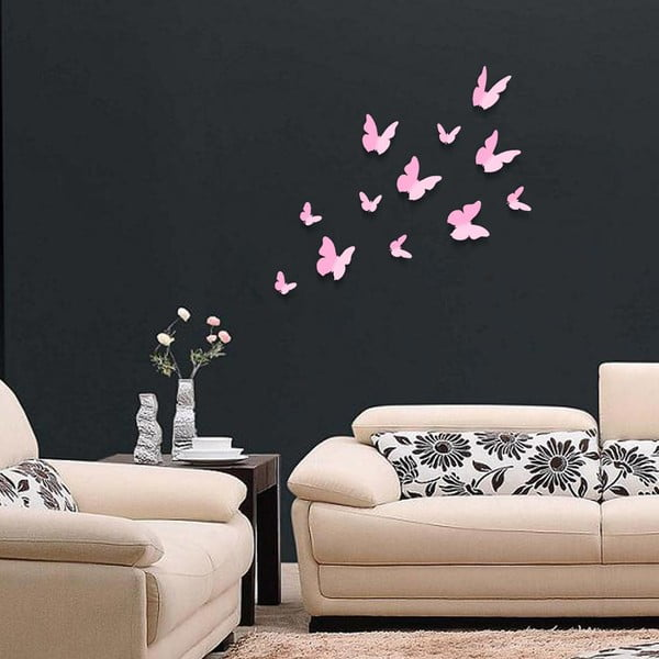 Trojrozměrné samolepky motýlků, jednobarevní růžoví