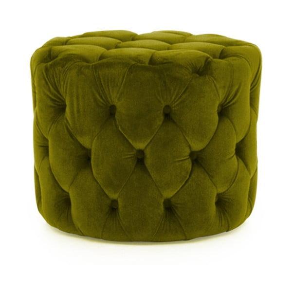 Zelená podnožka se sametovým potahem VIDA Living Perkins, ø 55 cm