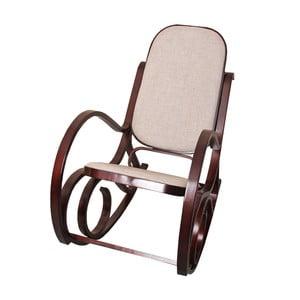 Houpací židle Shabby, hnědá s béžovým polstrováním
