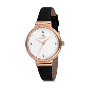 Dámské hodinky s černým koženým řemínkem Bigotti Milano Soraia