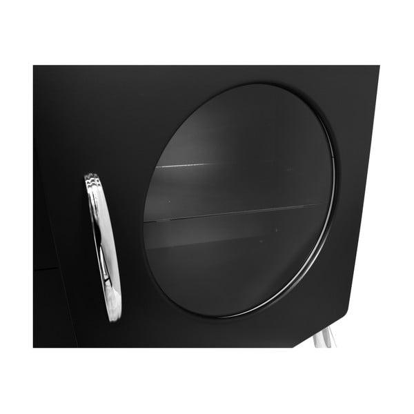 Černá komoda se skleněnými otvory Tenzo Cobra, šířka 163cm
