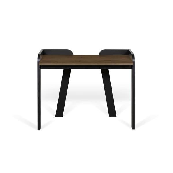Fekete íróasztal diófa díszítéssel - TemaHome